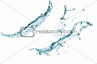 Blue color water splash