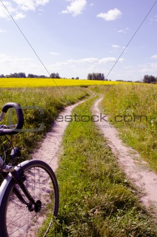 countryside road  and bicycle fragment