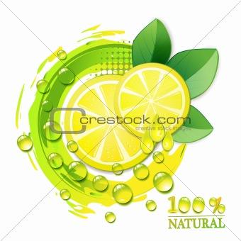 Slices yellow lemon