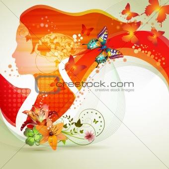 Portrait with butterflies