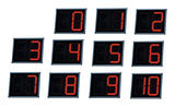 illuminated digital numbers.