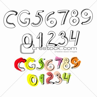 Letters C, G, and numbers 1, 2, 3, 4, 5, 6, 7, 8, 9