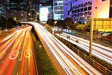 traffic light stream at night