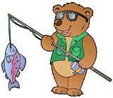 Cartoon bear fisherman