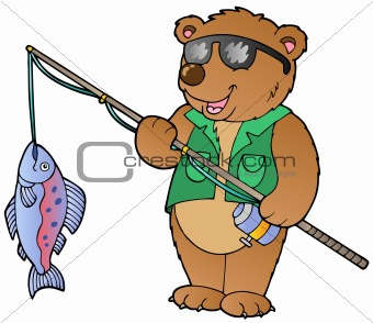 Cartoon bear fisherman