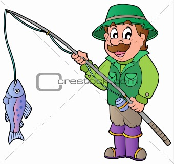Cartoon fisherman with rod and fish