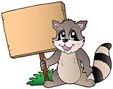 Cartoon raccoon holding wooden board