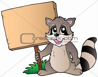 Cartoon raccoon holding wooden board