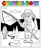 Coloring book with fisherman 1