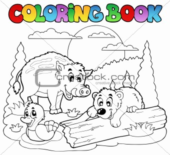 Coloring book with happy animals 2