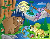Forest scene with happy animals 1