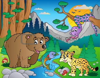 Forest scene with various animals 9