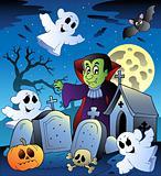 Halloween scenery with cemetery 3