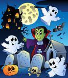 Halloween scenery with cemetery 4