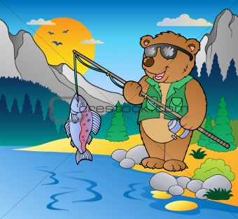 Lake with cartoon fisherman 2