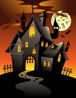 Scene with Halloween mansion 1
