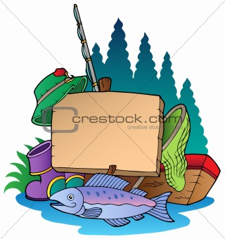Wooden board with fishing equipment