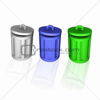 3d colorful trash can symbols