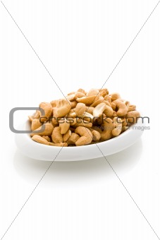 Cashews on white isolated background