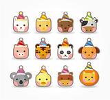 cartoon party animal icon set