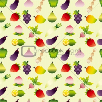 cartoon Fruits and Vegetable seamless pattern