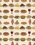 cartoon Italy food seamless pattern