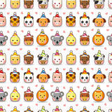 cartoon animal party seamless pattern