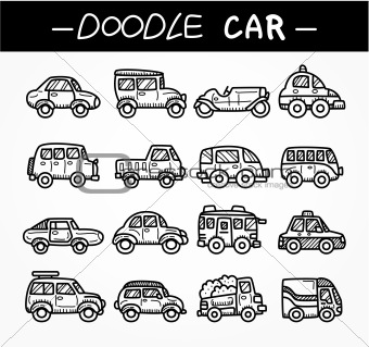 doodle cartoon car icon set