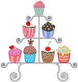 vector collection of various cupcakes on a stand