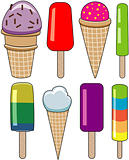 vector set of colorful icecream and popsicles