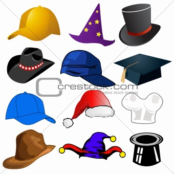 Various hats illustration clipart icons