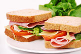 Healthy ham sandwich with