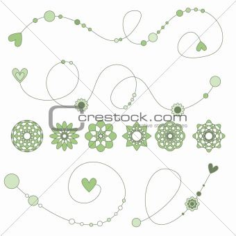 Green curls with hearts, flowers and dots