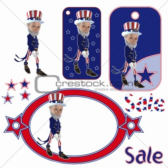 3D Uncle Sam Cartoon Elf Caracter