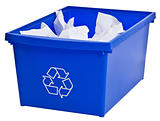 Blue recycling bin filled with whiter paper