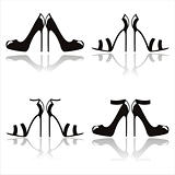black high heel shoes icons