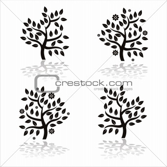 black trees silhouettes with flowers