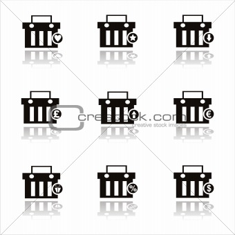 black shopping baskets icons