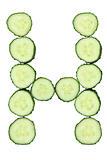 Vegetable Alphabet of chopped cucumber  - letter H