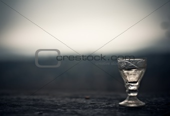 commemorative glass of vodka at the Russian cemetery unknown sol