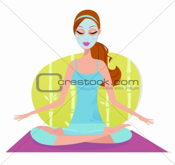 Beautiful woman with facial mask sitting on yoga mat and meditate