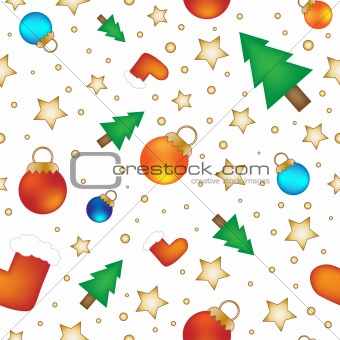 Baubles, stars, stockings and trees - Christmas texture