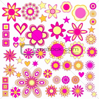 Pink and yellow cute symbol collection