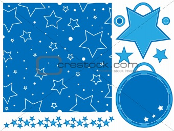Blue and white star pattern, tags and border