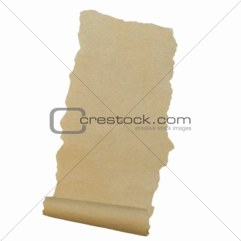 Old paper roll scrap isolated on white background