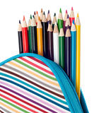 Pencil Case with Colorful Pencils Close Up