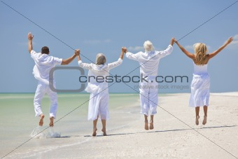 Four People, Two Seniors, Family Couples, Jumping On Tropical Be