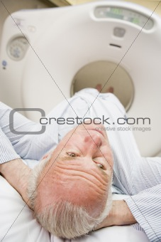Patient About To Have A Computerized Axial Tomography (CAT) Scan