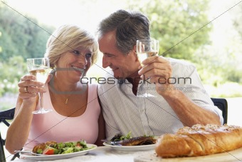 Couple Eating An Al Fresco Meal