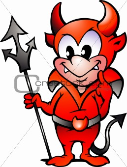 Hand-drawn Vector illustration of an Little Red Devil Boy
